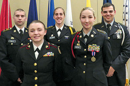 On May 19 at a banquet at The Galaxy restaurant, the Ohio Western Reserve Chapter of the Military Officers Association of America (MOAA) awarded local cadets the MOAA medal, which is given to the top junior class cadet and/or scholarship recipients in Reserve Officers Training Corps (ROTC) programs.  These medal recipients included those shown above: (front) Cadet Tayler Frame, of Akron East Community Learning Center Junior ROTC; and Cadet Destiny Hartney, of Kenmore High School JROTC; and (back) Cadet Peter Gallo, of The University of Akron (UA) ROTC; Cadet Taylor Dellinger, of Kent State University (KSU) U.S. Army ROTC; and Cadet Isaac Hull, of Perry High School JROTC. Also recognized but not pictured are Cadet Lt. (JG) Nathaniel CYC, of North High School JROTC; Cadet Tyler Korenyi, of KSU Air Force ROTC; Cadet Kylee Savin, of UA U.S. Army ROTC; and Cadet Megan McGonigal, of Green High School JROTC. JROTC program recipients also were awarded a stipend to assist in their expenses.  Lt. Col. Matthew Fox, professor of military science at Kent State University, gave the keynote comments preceding the awards.