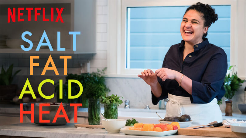 Salt Fat Acid Heat chef and author Samin Nosrat cooking.