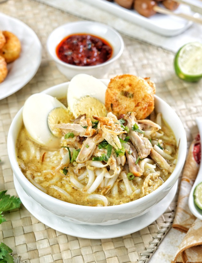 Bowl of soto ayam indonesian soup