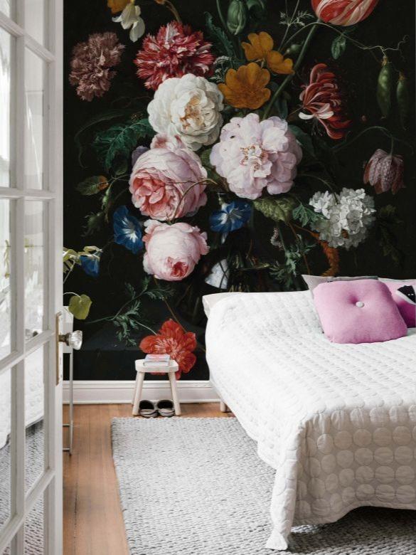 Bloemenbehang slaapkamer