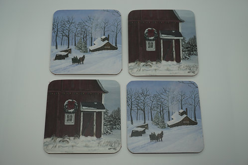 Festive Red Barn & Winter Sleigh Ride (Coasters)