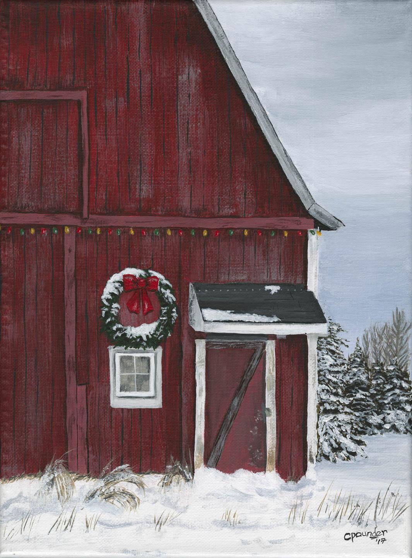 Festive Red Barn