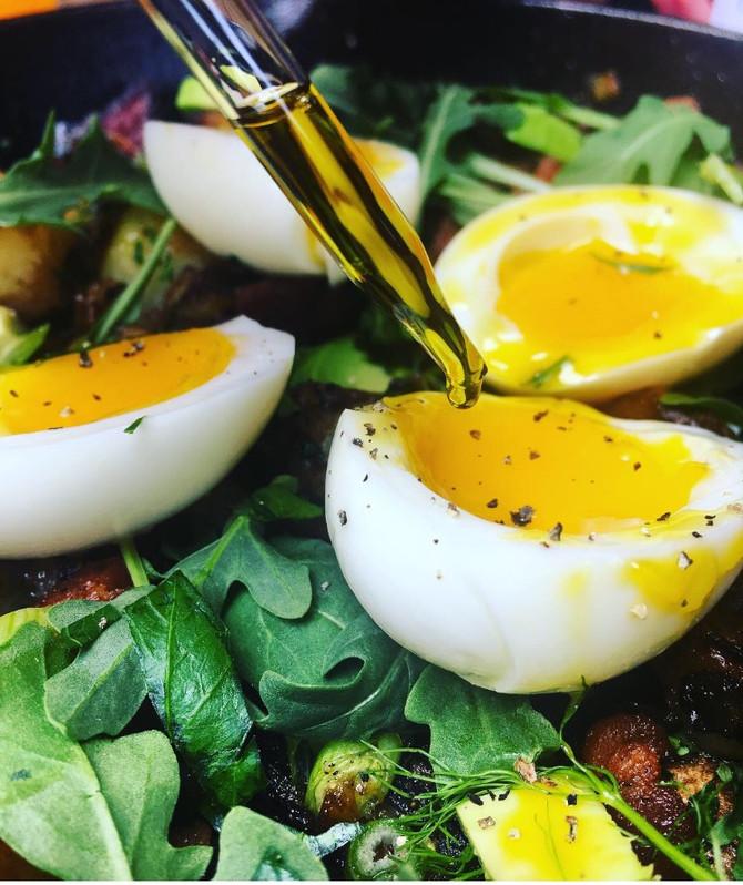 Jammy THC Eggs over CBD bacon hash