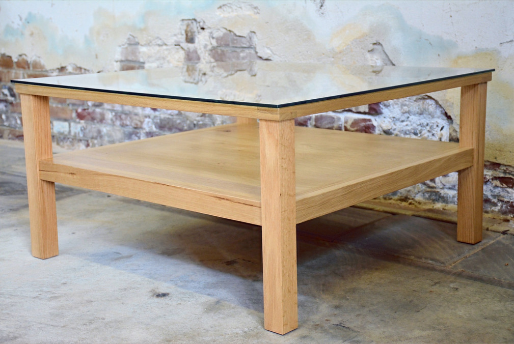 Table with glass Oak