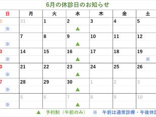 6月の休診日のお知らせ