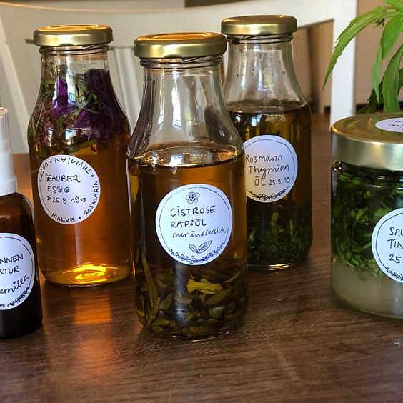 Pflanzenauszüge: Öle, Essige, Wein, Mazerate, Tees, Tinkturen, (AUSGEBUCHT)