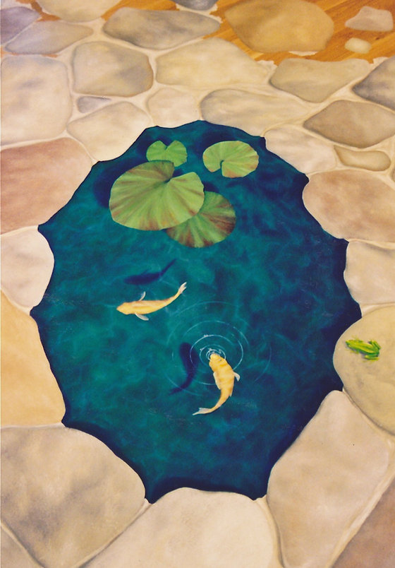 Trompe L'oeil Koi Pond Painted Floor