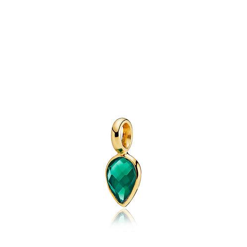 DROPPIE ANHÄNGER SMALL Silber vergoldet - Grüner Onyx