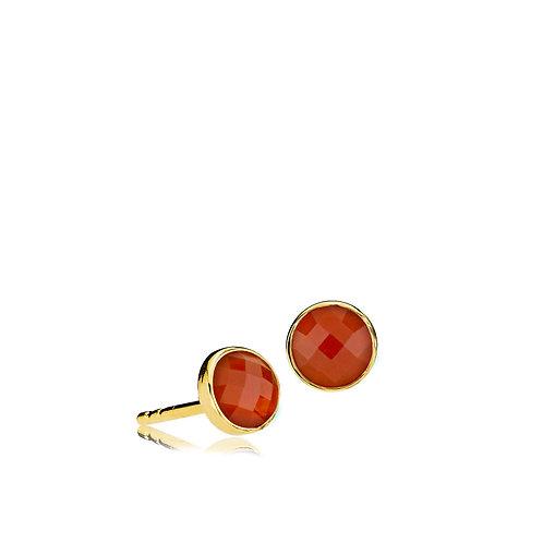 PRIMA DONNA OHRSTECKER Silber vergoldet - Roter Onyx