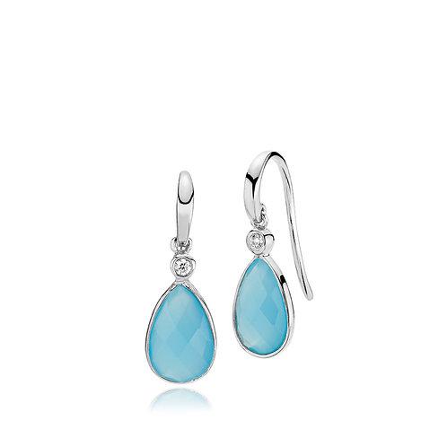 IMPERIAL OHRRINGE Silber - Blauer Chalzedon