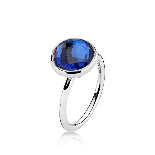 PRIMA DONNA RING Silber - Royalblauer Doublet Quarz