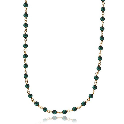 MISS PEARL HALSKETTE Silber vergoldet - Grüner Malachit