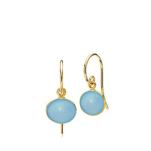 CANDY OHRRINGE Silber vergoldet - Blauer Chalzedon