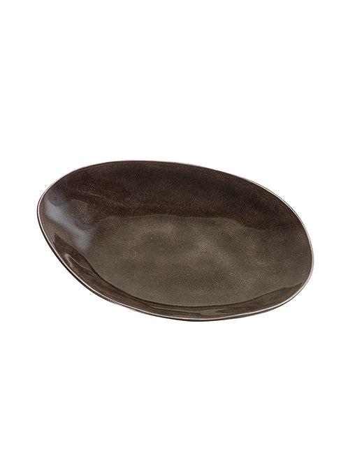 Ovaler Steingut-Teller in Grau, Grösse S