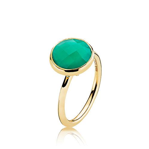 PRIMA DONNA RING Silber vergoldet -Grüner Onyx