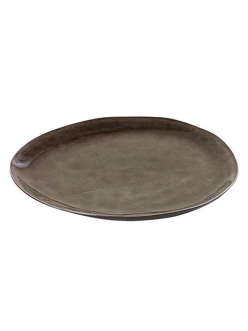 Ovaler Steingut-Teller in Grau, Grösse L