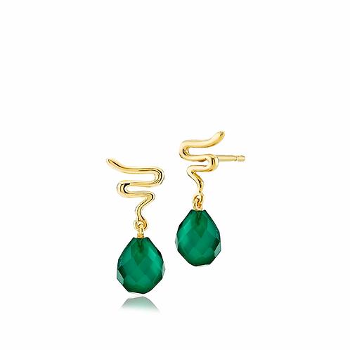 SANIYA OHRSTECKER Silber vergoldet - Grüner Onyx