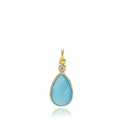 IMPERIAL ANHÄNGER Silber vergoldet - Blauer Chalzedon