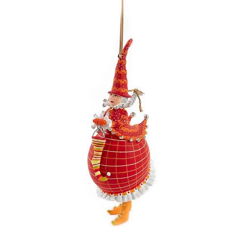 DASH AWAY ORNAMENT - Red Mrs. Santa