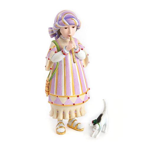 NATIVITY FIGUREN - Piping Girl with Kitten Set