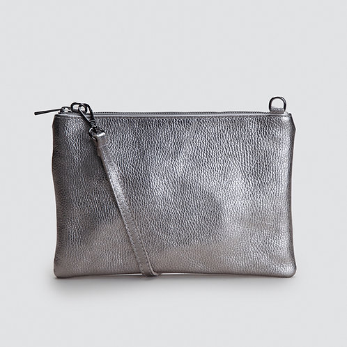 Grosse Schultertasche «Adele» Taupe