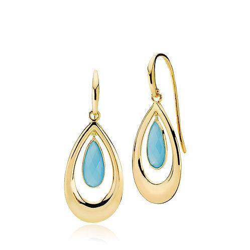 IMPERIAL OHRRINGE Silber vergoldet - Blauer Chalzedon
