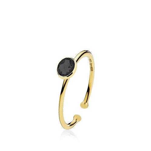 PRIMA DONNA RING SMALL Silber vergoldet - Onyx