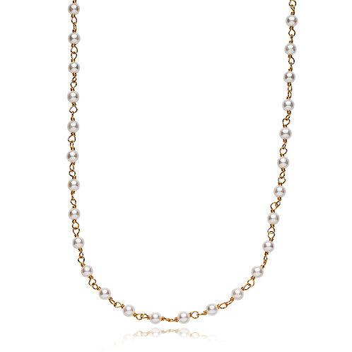 MISS PEARL HALSKETTE Silber vergoldet - Weisse Süsswasserperle