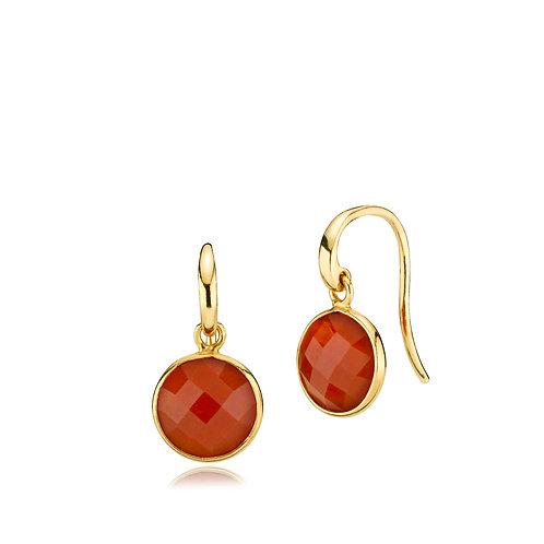 PRIMA DONNA OHRRINGE Silber vergoldet - Roter Onyx