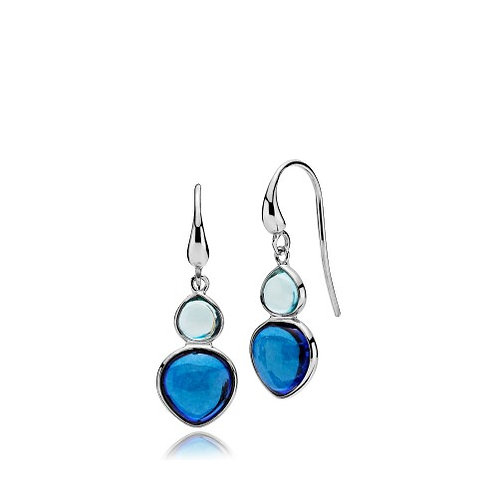 SKYLINE OHRHÄNGER Silber - Aqua und Royalblauer Kristall