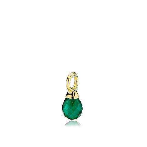 WONDER DROP ANHÄNGER Silber vergoldet - Grüner Onyx
