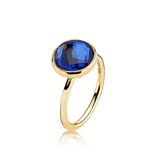 PRIMA DONNA RING Silber vergoldet - Royalblauer Doublet Quarz