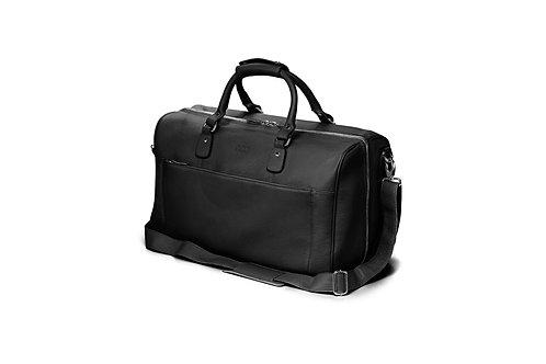 Reisetasche «packbar», genarbtes Leder Schwarz - Silber