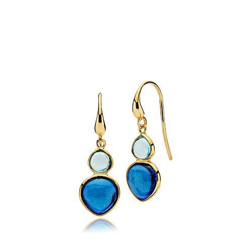 SKYLINE OHRHÄNGER Silber vergoldet - Aqua und Royalblauer Kristall
