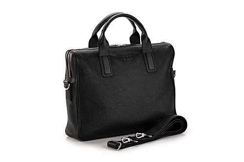 Business-Tasche «Jakob», genarbtes Leder Schwarz - Silber