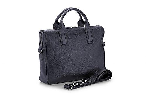 Business-Tasche «Jakob», genarbtes Leder Nachtblau - Silber