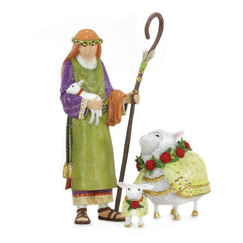 NATIVITY FIGUREN - Shepherd & Sheep SET