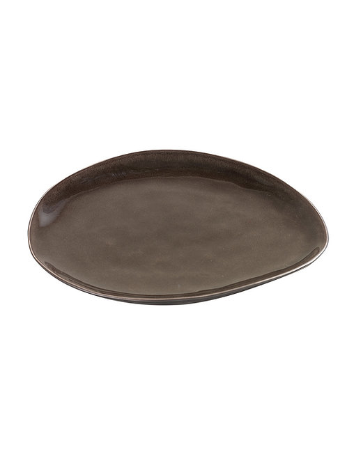 Ovaler Steingut-Teller in Grau, Grösse M