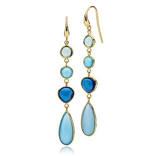 SKYLINE OHRRINGE Silber vergoldet - Aqua und Royalblaue Kristalle