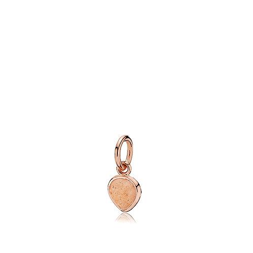 HEART DROP ANHÄNGER Silber rosé vergoldet - Pfirsich Mondstein