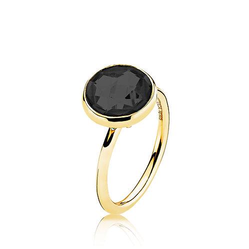 PRIMA DONNA RING Silber vergoldet - Onyx