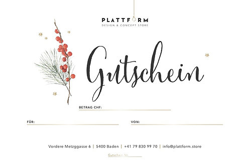 Gutschein PLATTFORM Design & Concept Store