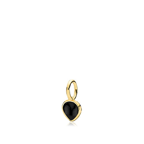 HEART DROP ANHÄNGER Silber vergoldet - Onyx