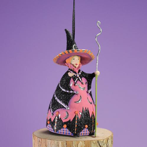 HALLOWEEN MINI ORNAMENT - Bat Moon Witch