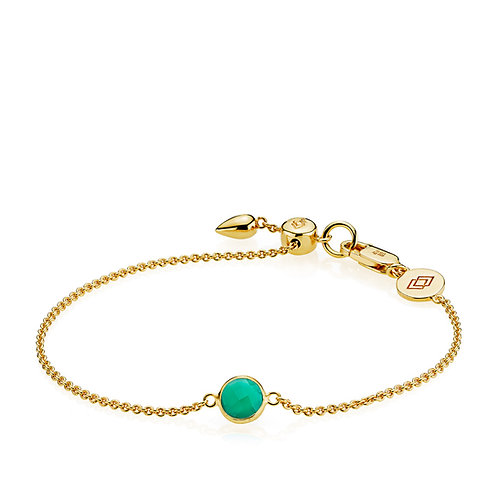 PRIMA DONNA ARMBAND Silber vergoldet - Grüner Onyx