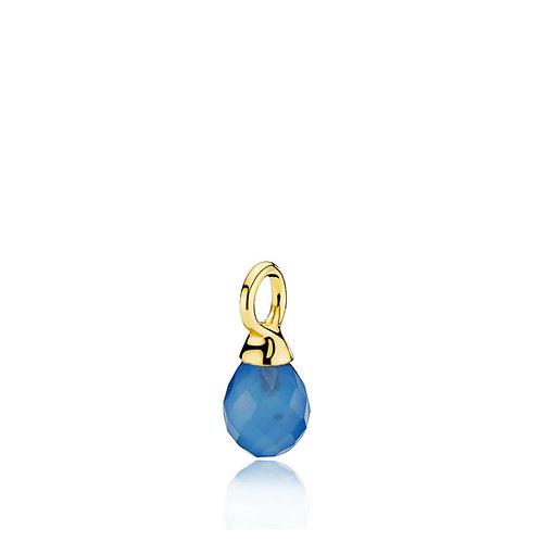 WONDER DROP ANHÄNGER Silber vergoldet - Blauer Chalzedon
