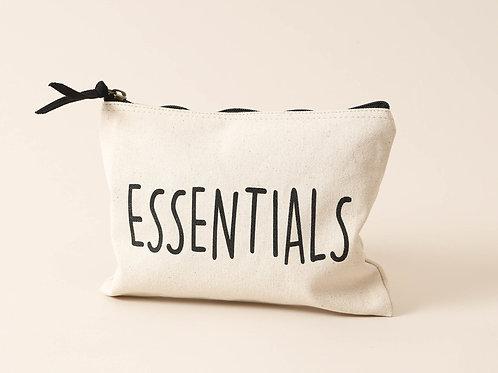 Cremefarbener Stoffbeutel mit «Essentials» Print, 24x18cm