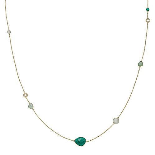 ORIENT HALSKETTE Silber vergoldet – Grüner Onyx