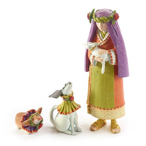 NATIVITY FIGUREN - Shepherdess with Dog Set