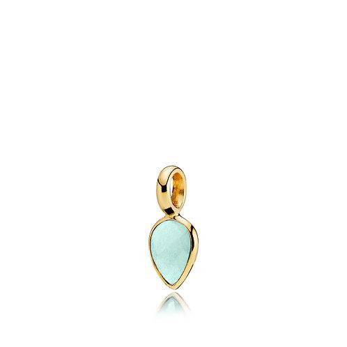 DROPPIE ANHÄNGER Silber vergoldet - Aqua Kristall